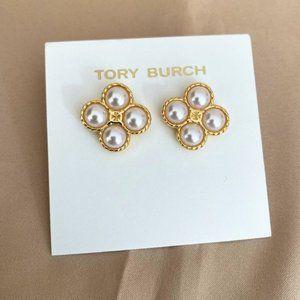 Tory Burch Classic Glossy Logo Earrings